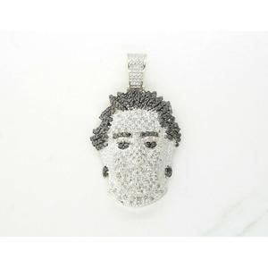 Other - Mens 10k Two Tone Gold Head 3D Charm Pendant Black